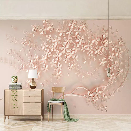 3D Custom Mural Wallpaper Rose Gold Flower Luxury Living Room 3D Stereo TV Background Murals Decorative Wall Papers Home Decor - WallpaperUniversity