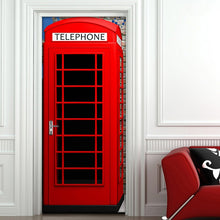 Load image into Gallery viewer, Telephone Booth Mural Wallpaper Creative DIY Living Room Home Decor Poster PVC Waterproof Self-adhesive 3D Door Sticker Decal - WallpaperUniversity