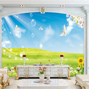 Custom Photo Wallpaper Blue Sky White Clouds Meadow Living Room Bedroom Sofa TV Background Large Mural 3D Wallpaper Home Decor - WallpaperUniversity