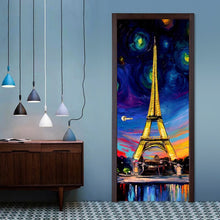 Load image into Gallery viewer, Hand Painted Oil Painting Paris Tower 3D PVC Self-adhesive Door Stickers Wallpaper Home Decor Living Room Study Door Sticker Art - WallpaperUniversity