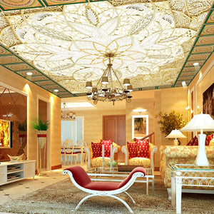 Custom European Suspended Ceiling Ceiling Wallpaper Living Room TV Backdrop 3D Stereo Large Mural Non-woven Wallpaper Mural - WallpaperUniversity