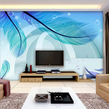 Load image into Gallery viewer, Custom Photo Wallpaper Modern Simple Fashion 3D Stereo Space Blue Feather Creative Art Mural Paintings Wallpaper Living Room - WallpaperUniversity