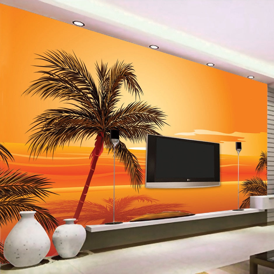 Custom 3D Photo Wallpaper Southeast Asian Style Beach Sunset Photography Background Wall Decor Living Room Wall Mural Wallpaper - WallpaperUniversity