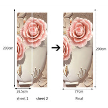 Load image into Gallery viewer, PVC Waterproof Door Sticker Wall Painting Living Room Bedroom Door Decoration 3D Flower Mural Wallpaper Self-adhesive Home Decor - WallpaperUniversity
