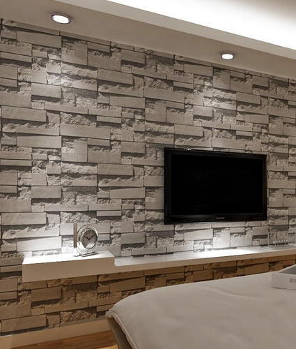 ASYMMETRICAL STACKED BRICK Wallpaper Wall Covering - WallpaperUniversity