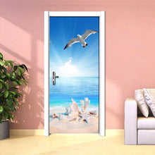 Load image into Gallery viewer, Nature Landscape 3D Photo Wallpaper Murals Blue Sky White Seascape Coconut Palm Door Mural Wall Sticker PVC Self-adhesive Paper - WallpaperUniversity