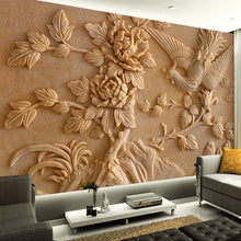 Load image into Gallery viewer, Custom Wall Mural Paper Chinese Style Living Room TV Background 3D Stereoscopic Relief Phoenix Peony Wall Murals Wallpaper - WallpaperUniversity