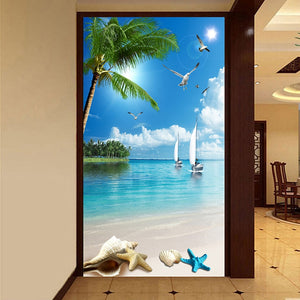 Custom Wallpaper Murals 3D Beach Seagull Coconut Trees Sailboat Sea View Wall Mural Entrance Corridor Background Photo Wallpaper - WallpaperUniversity