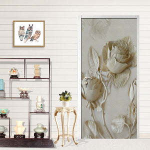 3D Gold Embossed Rose Bird Door Stickers Murals PVC Self-adhesive Waterproof Wallpaper Modern Living Room Bedroom Decoration - WallpaperUniversity
