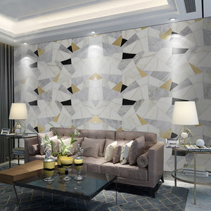Custom Any Size 3D Wall Mural Wallpaper Modern Simple Abstract Geometric Polygonal Pattern Marble Backdrop Wall Photo Wall Paper - WallpaperUniversity