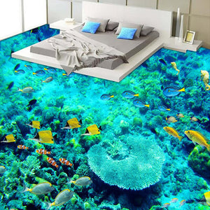 Custom 3D Floor Sticker Mural Paintings PVC Self-adhesive Wallpaper Waterproof Living Room Bathroom Floor Mural Ocean Wallpaper - WallpaperUniversity