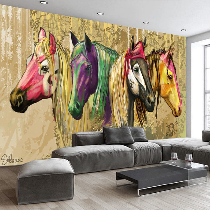High Quality Custom Wall Mural Wallpaper Home Decor Retro 3D Hand Painted Abstract Horse Oil Painting Wall Paper For Living Room - WallpaperUniversity