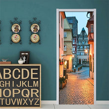 Load image into Gallery viewer, 3D Door Stickers PVC Self-adhesive Waterproof Wall Painting City Night Scene Mural Living Room Bedroom Door Decoration Wallpaper - WallpaperUniversity