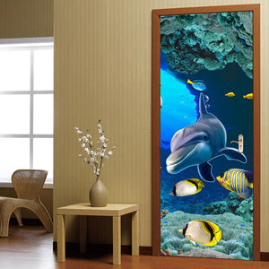 3D Dolphin Door Sticker Living Room Bedroom Door Decoration Sticker Wallpaper PVC Self-adhesive Waterproof Mural Wall Painting - WallpaperUniversity