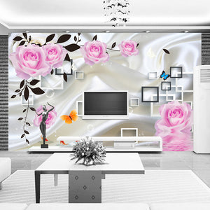 Custom Photo Wallpaper For Bedroom Walls 3D Silk Cloth Living Room TV Background Wall Home Decor Rose Flower Mural Wallpaper - WallpaperUniversity