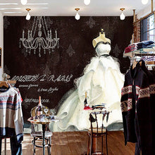 Load image into Gallery viewer, European Style Retro Hand Painted Wedding Dress Large Custom Wall Mural Painting Clothing Store Background Decorative Wallpaper - WallpaperUniversity