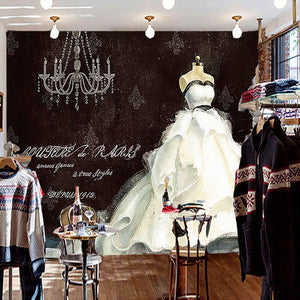 European Style Retro Hand Painted Wedding Dress Large Custom Wall Mural Painting Clothing Store Background Decorative Wallpaper - WallpaperUniversity