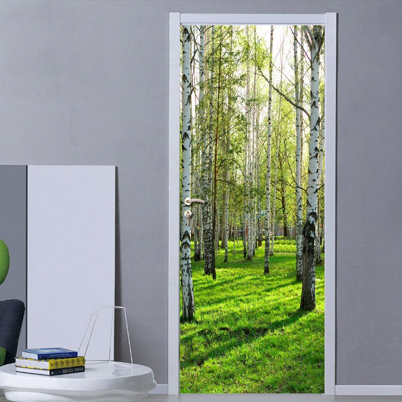 Pastoral Style 3D Green Forest Door Mural Living Room Bedroom Door Wallpaper Home PVC Waterproof Self-adhesive Door Sticker Wall - WallpaperUniversity
