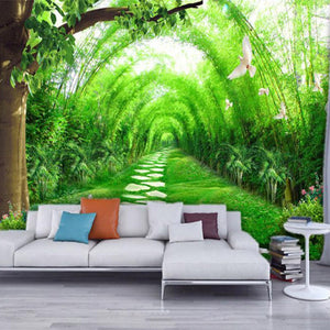 Custom 3D Wall Murals Wallpaper Living Room TV Background Non-woven Straw Wallpaper Green Bamboo Forest Wall Mural Paintings - WallpaperUniversity