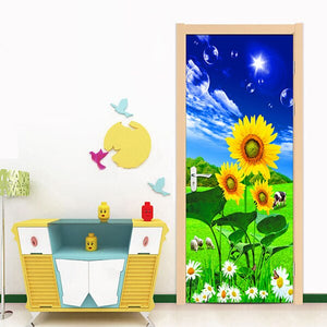 3D Photo Wallpaper Blue Sky White Clouds Sunflower Grassland Scenery Living Room Bedroom Door Sticker PVC Mural Self-adhesive - vouswall.com