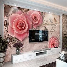 Load image into Gallery viewer, Retro 3D Stereoscopic Butterfly Rose Diamond European Style Living Room Sofa TV Backdrop Wall Home Decor Wallpaper Custom Mural - WallpaperUniversity