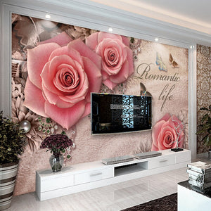 Retro 3D Stereoscopic Butterfly Rose Diamond European Style Living Room Sofa TV Backdrop Wall Home Decor Wallpaper Custom Mural - WallpaperUniversity