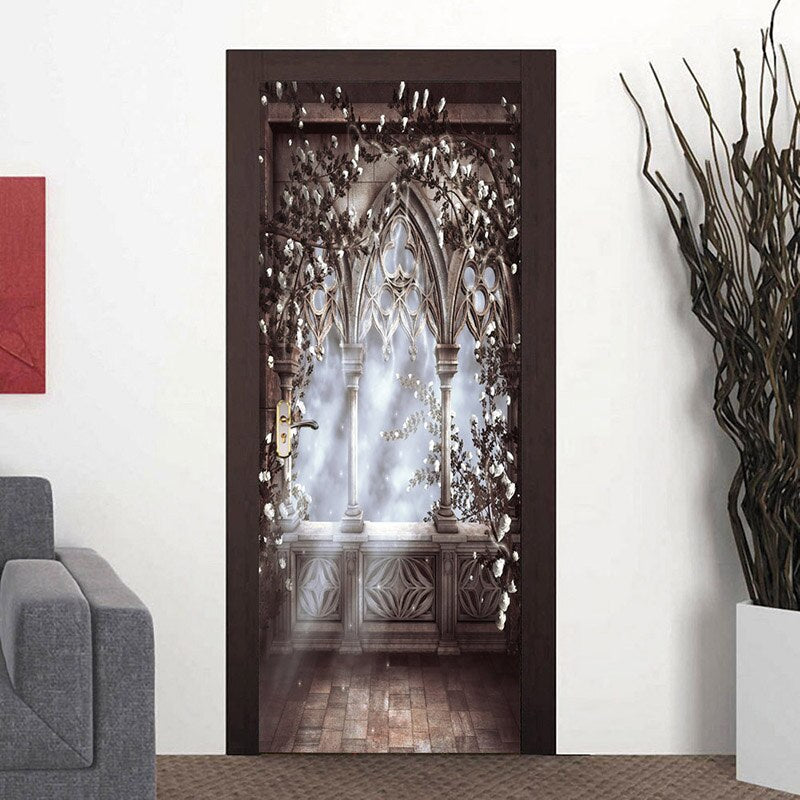 European Style Roman Column Large Mural Wallpaper Living Room Bedroom Door Sticker Decor Wall Painting Self-adhesive Waterproof - WallpaperUniversity