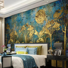Load image into Gallery viewer, Custom Mural Wall Painting Chinese Style Abstract Golden Forest Tree Bird Deer Photo Wallpaper Living Room Sofa Bedroom Wall Art - WallpaperUniversity