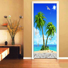 Load image into Gallery viewer, HD Seascape Coconut Tree 3D Wall Painting Wallpaper Living Room Bedroom Door Decoration Mural Sticker Self Adhesive Wallpaper - WallpaperUniversity