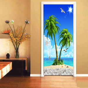 HD Seascape Coconut Tree 3D Wall Painting Wallpaper Living Room Bedroom Door Decoration Mural Sticker Self Adhesive Wallpaper - WallpaperUniversity