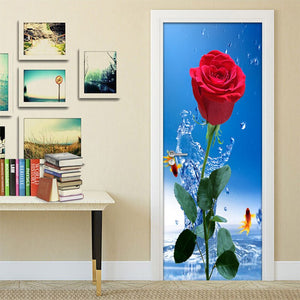 Door Stickers Flower Waterproof Modern Living Room Bedroom Door Wallpaper Self-Adhesive Art Wall Decals Red Rose 3D Wall Sticker - WallpaperUniversity