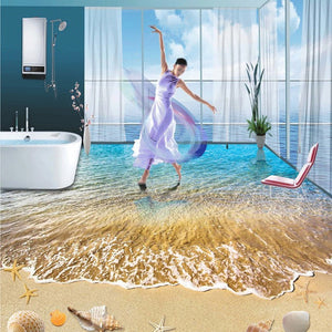 Summer Beach Shells And Starfish Bathroom Living Room Self-adhesive 3D Floor Painting Custom Floor Mural 3D Photo Wallpaper - WallpaperUniversity