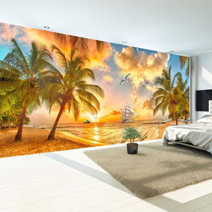 Large Custom Wall Mural Non-woven Wallpaper Beach Sunset Coconut Tree Nature Landscape Photo Backdrop Wallpapers For Living Room - WallpaperUniversity