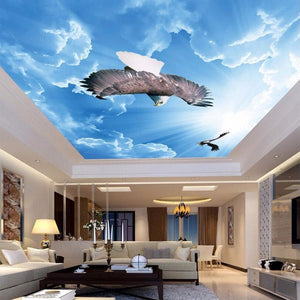 Customized Any Size 3D Mural Wallpaper Blue Sky Eagle Ceiling Art Mural Living Room Study Bedroom Ceiling Wallpaper De Parede 3D - WallpaperUniversity