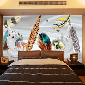 Custom Photo Wallpaper 3D Stereoscopic Peacock Feathers Large Murals Romantic Bedroom Living Room TV Backdrop Home Decor - WallpaperUniversity