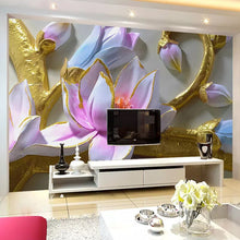 Load image into Gallery viewer, Custom Photo Wallpaper 3D Orchid Embossed TV Background Wall Decorative Painting Mural Papel De Parede Modern Flower Art Decor - WallpaperUniversity