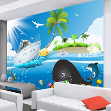 Load image into Gallery viewer, Custom Wall Painting Wallpaper Cartoon Blue Sky Sea Fish Boat Photo Mural Wallpaper For Kids Room Bedroom Walls Mural De Parede - WallpaperUniversity