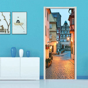 3D Door Stickers PVC Self-adhesive Waterproof Wall Painting City Night Scene Mural Living Room Bedroom Door Decoration Wallpaper - WallpaperUniversity