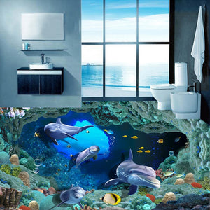 Custom 3D Flooring Photo Wallpaper Dolphin Undersea Cave Stereo PVC Self-adhesive Mural Vinyl Floor Decor Wallpaper Waterproof - WallpaperUniversity
