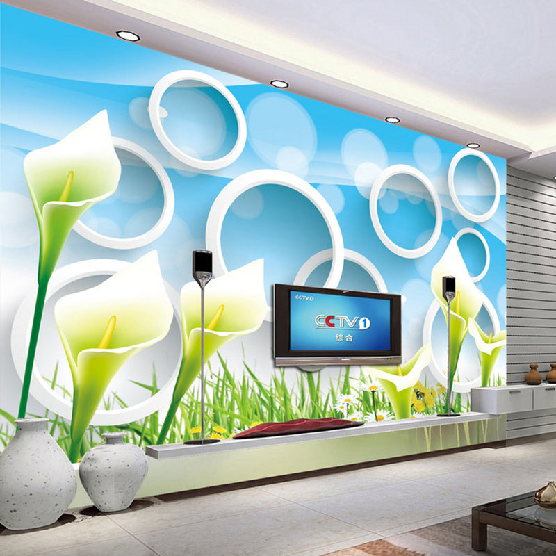 Custom Photo Wallpaper Modern Fashion Flower 3D Circle Rings Abstract Art Mural Living Room TV Background Wallpaper For Walls 3D - WallpaperUniversity