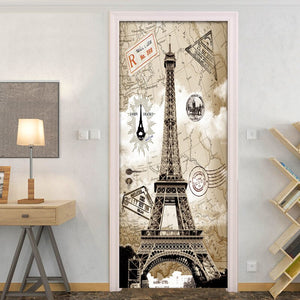 3D Door Sticker Livingroom Bedroom Wall Decoration Paris Eiffel Tower PVC Waterproof Self Adhesive Door Stickers Wallpaper Mural - WallpaperUniversity