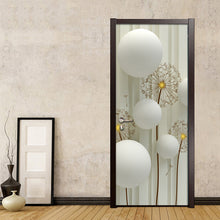 Load image into Gallery viewer, Modern Simple Abstract Art Circle Ball Dandelion Striped Background Wall Decoration Door Sticker PVC Waterproof Mural Wallpaper - WallpaperUniversity