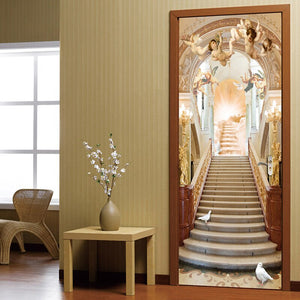 Angel Stairs European Style Living Room 3D Door Sticker Wall Mural Wallpaper PVC Waterproof Self-adhesive Door Stickers Painting - WallpaperUniversity