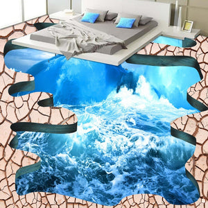 Custom Floor Wallpaper 3D Stereoscopic Ocean Crack Bathroom Floor Sticker Mural 3D PVC Self-adhesive Floor Wallpaper Murals 3D - WallpaperUniversity