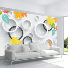 Load image into Gallery viewer, Custom 3D Photo Wallpaper 3D Circles Leaves Modern Simple Art Living Room TV Backdrop Wall Paper Mural Painting Papel De Parede - WallpaperUniversity