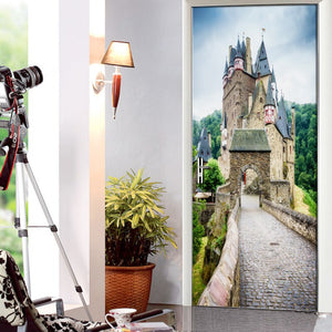 Living Room Bedroom Door Mural Sticker European Ancient Castle PVC Waterproof Self-adhesive Door Decoration 3D Wallpaper Mural - WallpaperUniversity