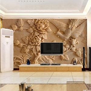 Custom Wall Mural Paper Chinese Style Living Room TV Background 3D Stereoscopic Relief Phoenix Peony Wall Murals Wallpaper - WallpaperUniversity