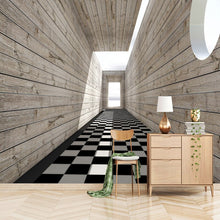 Load image into Gallery viewer, Custom Wall Mural Non-woven Fabric Wallpaper For Walls 3D Visual Space Wood Grain Background Wall Decorative Painting Wallpaper - WallpaperUniversity