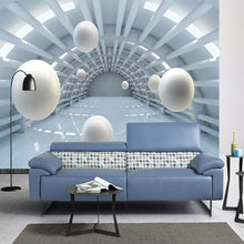 Load image into Gallery viewer, Custom Size Modern Abstract Tunnel Space Stereo Ball 3D Home Decor Mural Art Living Room Television Background Wall Wallpaper - WallpaperUniversity