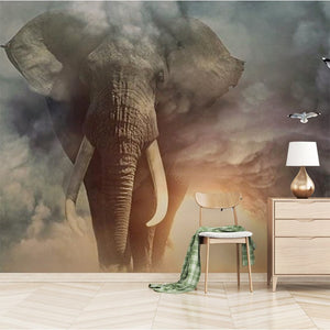 3D Animal Mural Wallpaper Custom Creative Elephant Non-woven Photo Wallpaper Living Room Sofa TV Children's Room Home Decoration - WallpaperUniversity